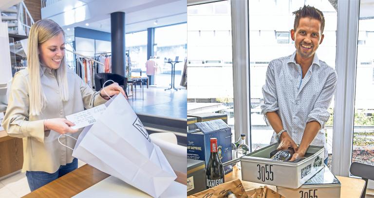 Fabienne Epple (Mode Lenk) und Maximilian Müssle (Müssle Spezialitäten) hatten beim Golden Sunday Kundenbestellungen verpackt. Bei Müssle gab es die persönlich zusammengestellten Angebotskombinationen auch nach dem Golden Sunday noch auf der eigenen Firmenwebseite. Foto: Meyer
